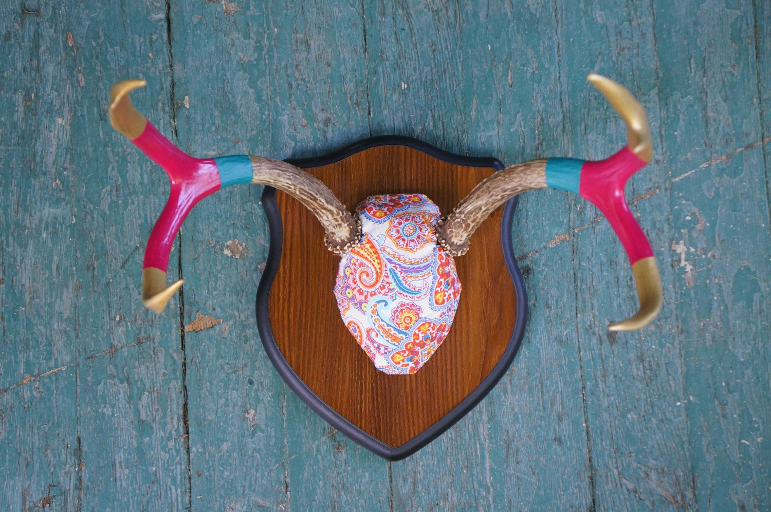 Upcycled Painted Deer Mount Vintage by MountainsideDesigns on Etsy, $88.00
