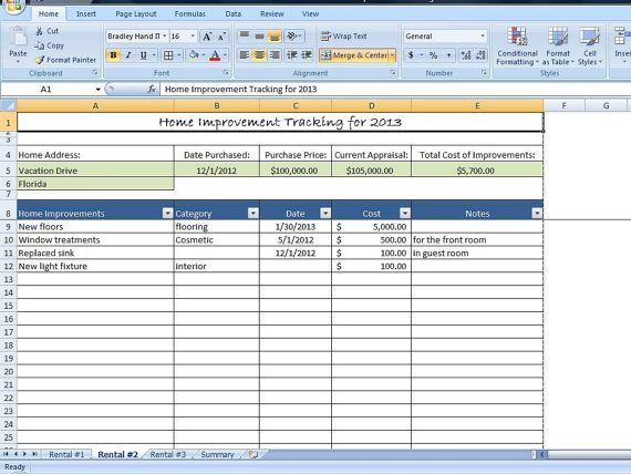 Home Improvement Tracking Template in Excel Spreadsheet Property