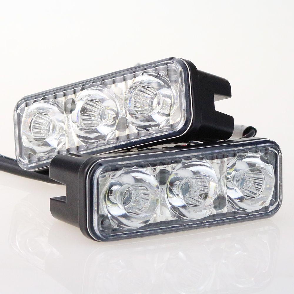DRL 빛 2 개/대 6 Led 9 와트 안개 유니버설 자동차 스타일링 소스 방수 DC 12 볼트 DRL 네비게이션 낮 조명 자동차 AE