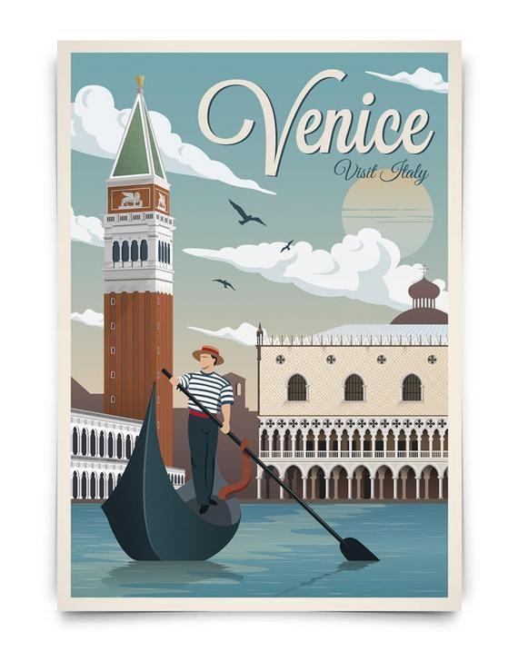 Vintage Poster Venise, Voyage, Italie, Affiche, Affiche De Voyage Vintage, Décoration, Lamina, Vieux, Gondole, Estampes