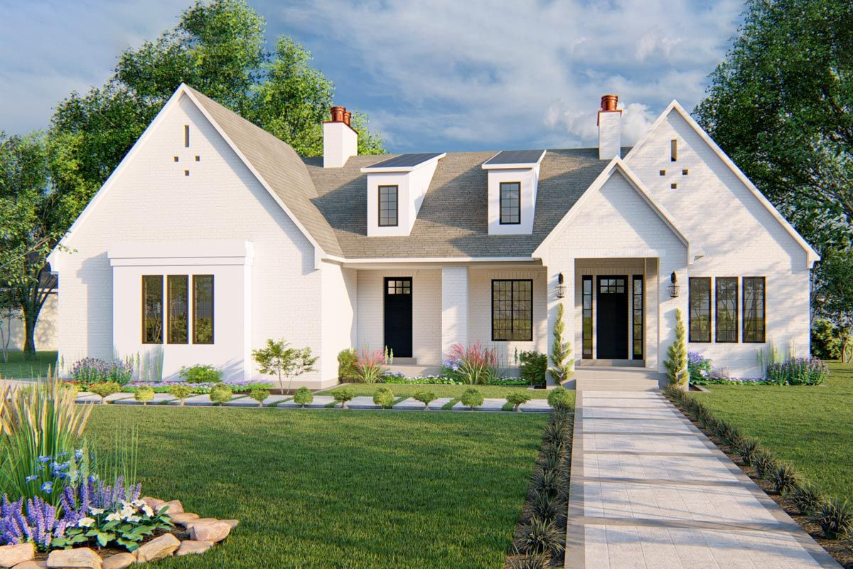 Plan 910005whd 3 Bed New American Home Plan With Optional Lower Level French House Plans House Plans French House