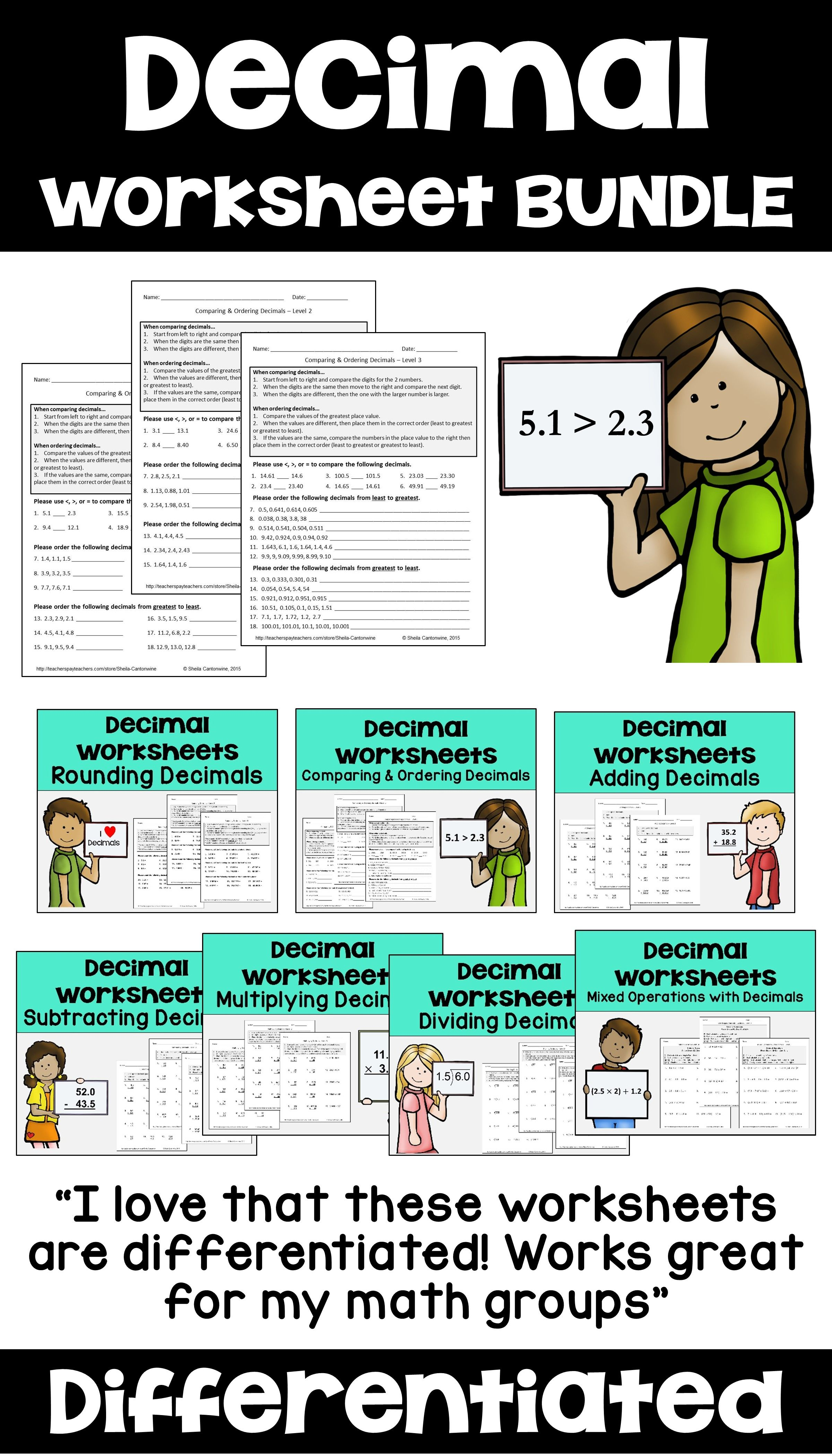 Decimal Worksheet Bundle Differentiated