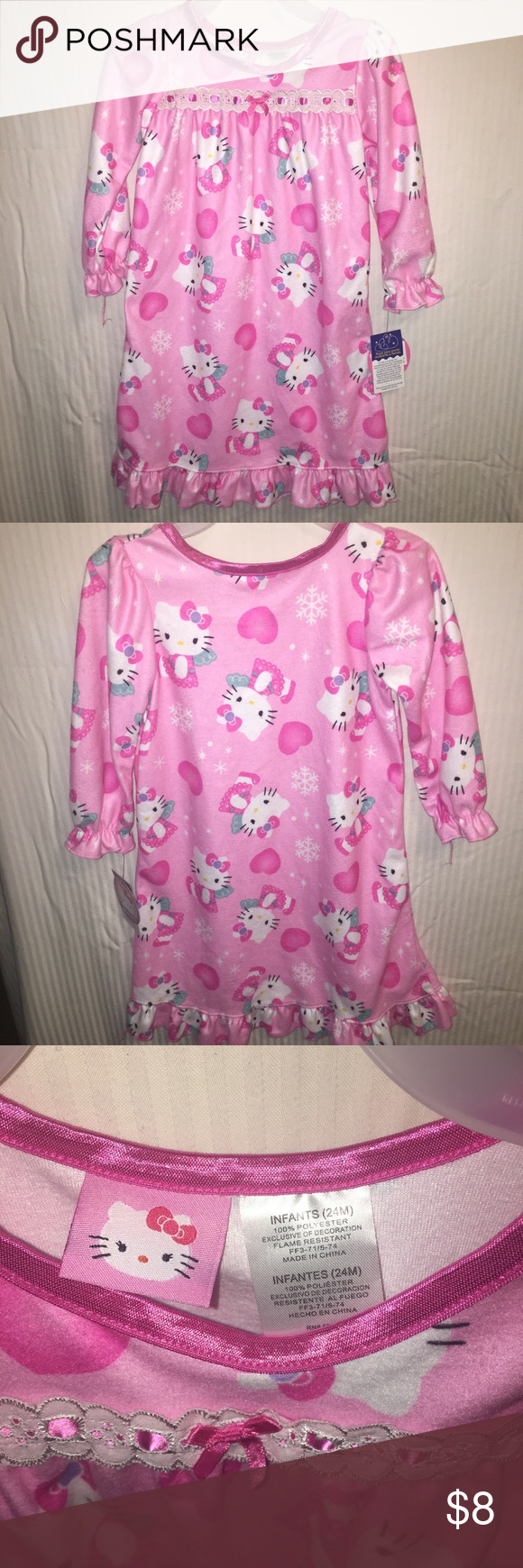 b67d8e44c Snowflakes and hello kitty. Pink bow. Pajama gown. Ruffle Sleeve Ruffle hem.  Hello Kitty Pajamas Nightgowns