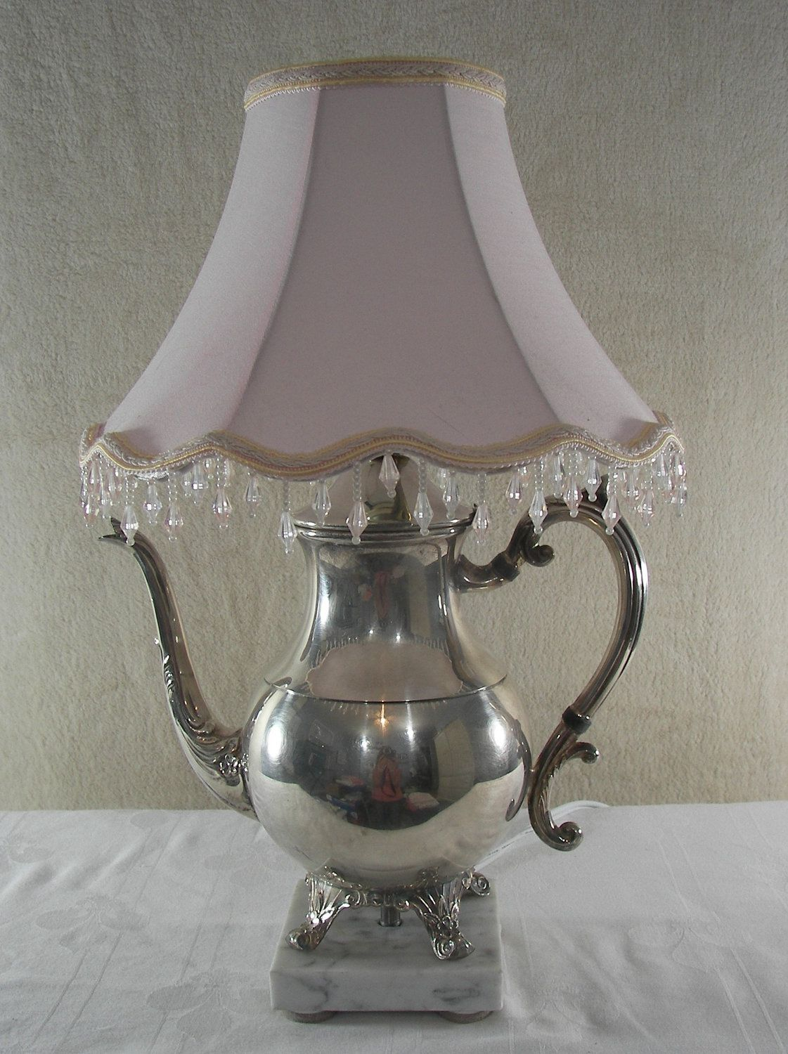 Small solar lights for crafts - Repurposing Old Teapots Vintage Silver Plated Teapot Lamp Repurposed By Pinkpicketcottage
