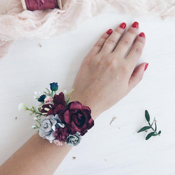 Flower wrist corsage, Burgundy wrist corsage, Navy Bridesmaids wrist corsage, Fall Winter wedding, Wedding bouquet