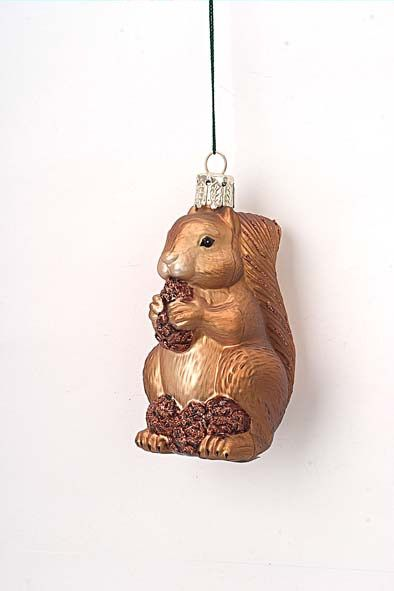 Glass Squirrel Christmas Ornament