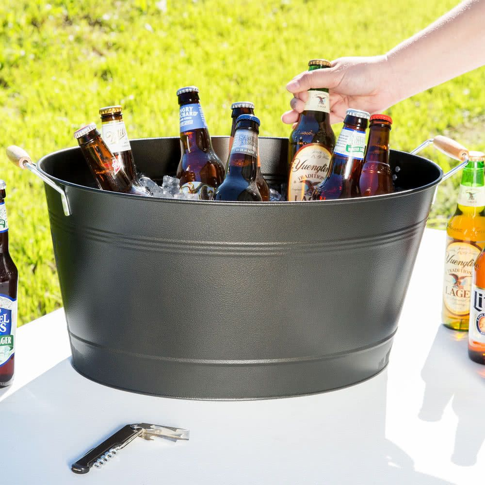 19 X 14 X 9 5 16 Oval Beverage Tub With Wooden Beverage Tub