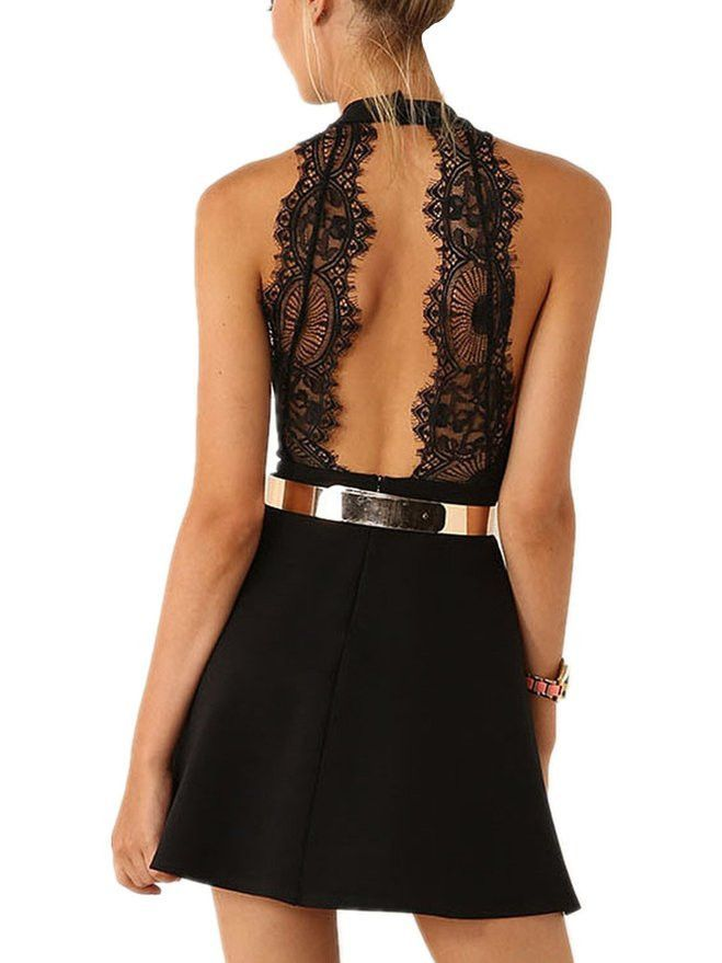 Women's Black Sleeveless Halter Contrast Lace Backless Dress