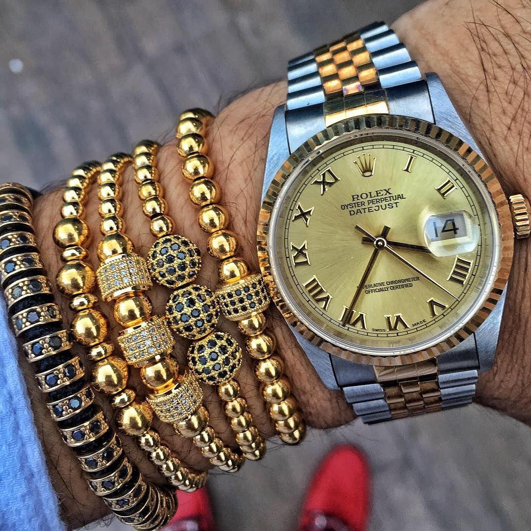 Rolex oyster perpetual shopzenger kt gold plated macrame