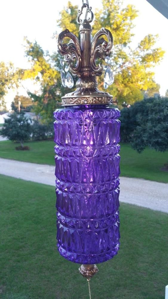 Vintage Amethyst Purple Glass Cylinder Hanging Swag Lamp Pull Chain Light Prisms