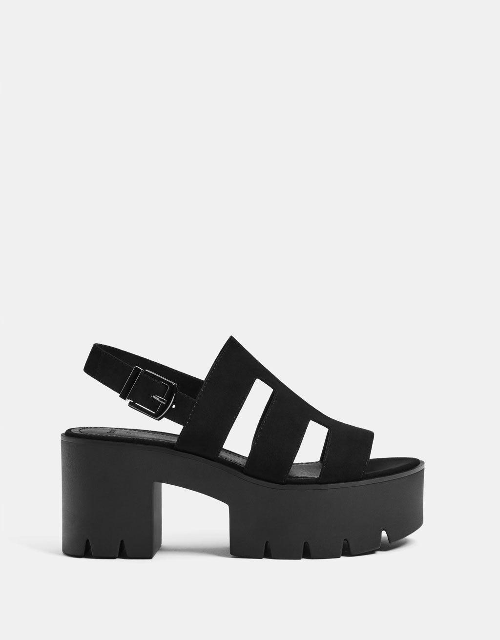 Sandalia plataforma tiras | Zapatos de tacones, Plataformas