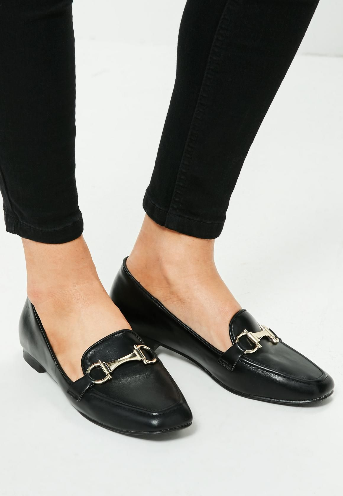 Missguided Black Buckle Detail Loafers Women Shoes Online Dress Shoes Men Loafers