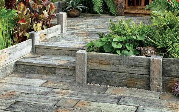 Timberstone Posts And Sleepers For Planters / Raised Beds Made From Stone