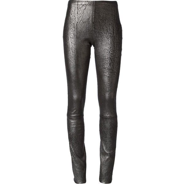 Haider Ackermann Cracked Effect Leggings (6.700 ARS) ❤ liked on Polyvore featuring pants, leggings, bottoms, jeans, leather pants, metallic, stretchy leather leggings, leather trousers, stretchy leather pants and genuine leather leggings