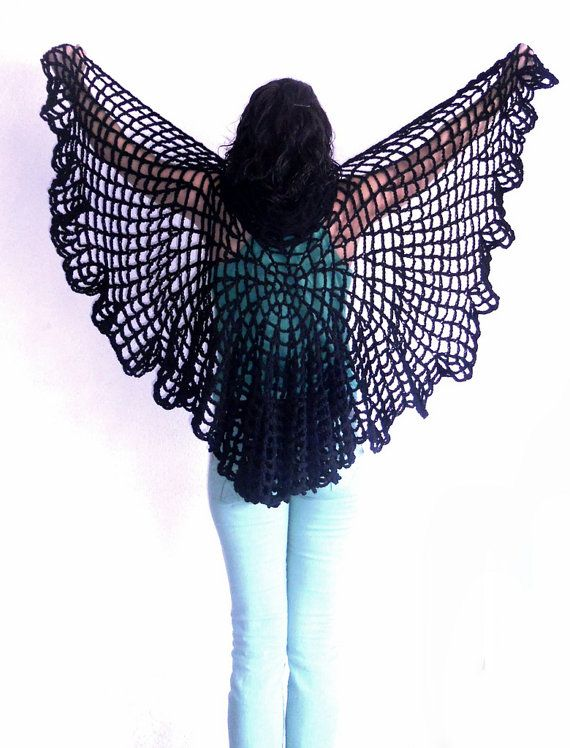 Halloween Black Shawl Woman Gifts Spiderweb Black Capelet