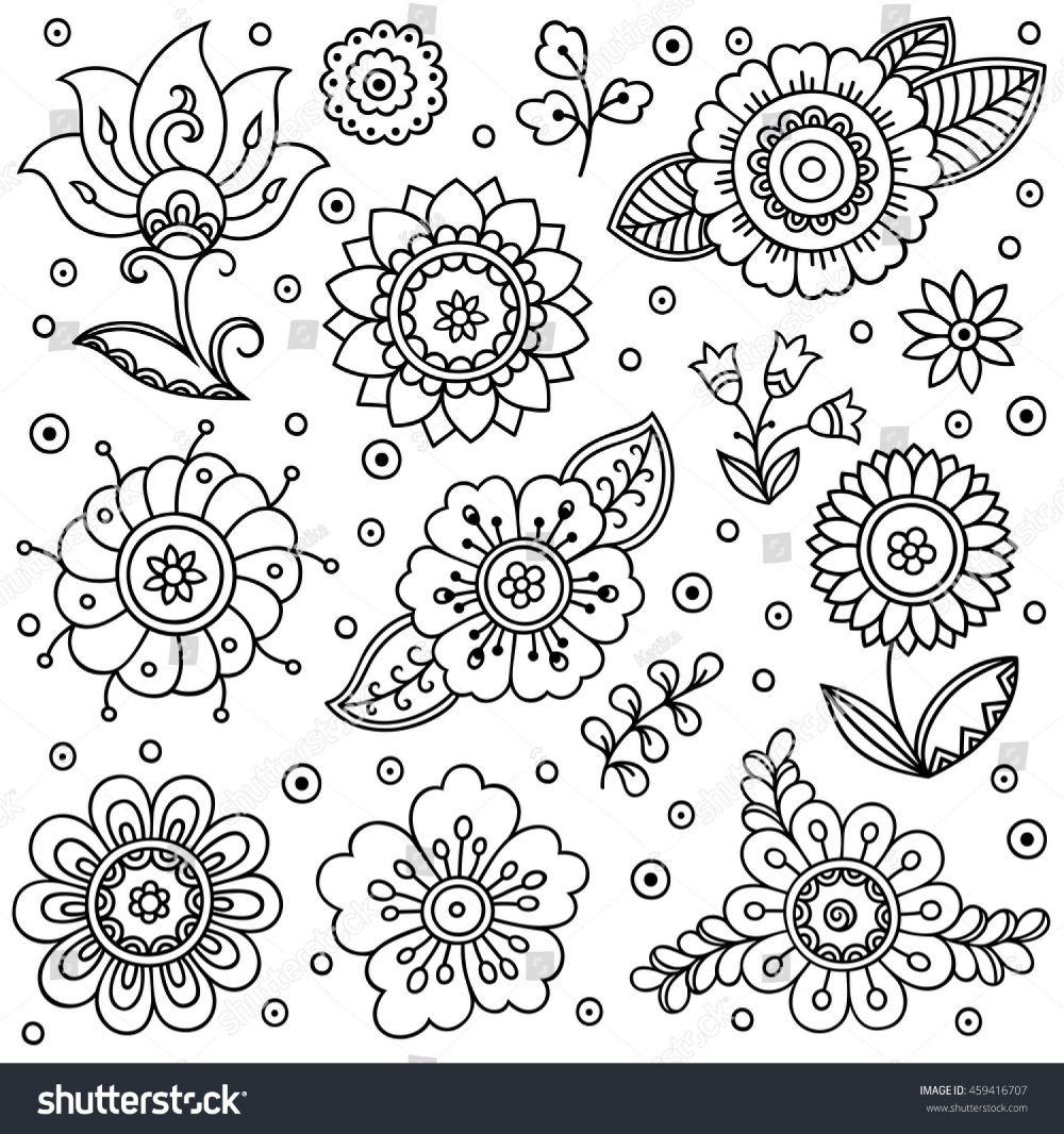 Outline Decorative Hand Drawn Elements Doodle Stock Vector (Royalty Free) 459416707