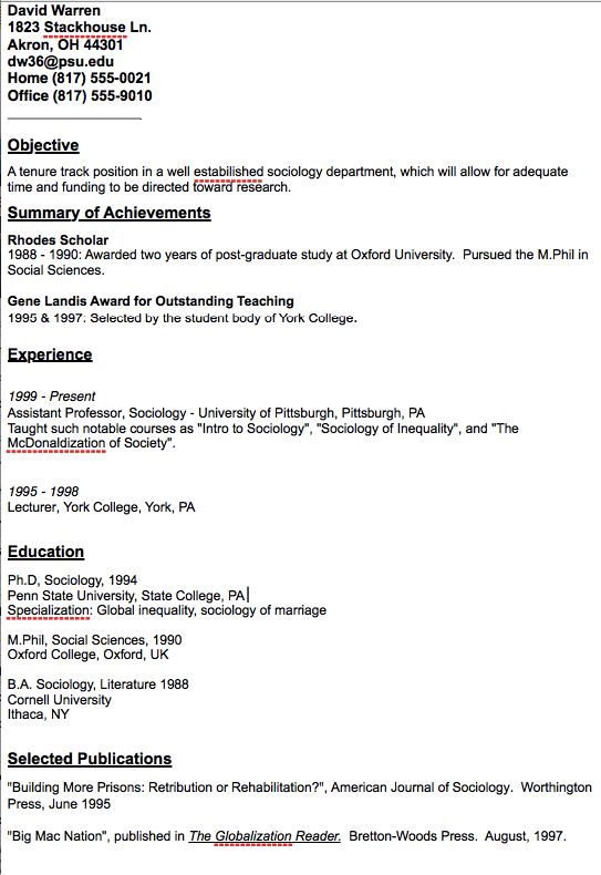 resume for college professor position