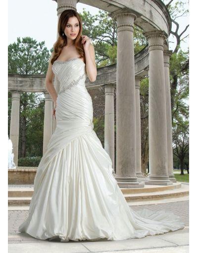 Taffeta Strapless Ruching Applique Mermaid Wedding Dress On Sale At Persuncouk