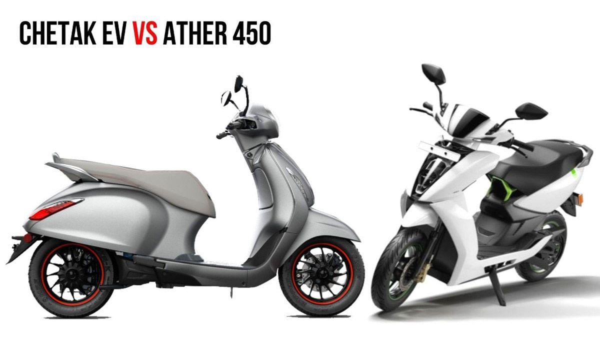 Upcoming Bajaj Chetak Electric Vs Ather 450 Specs Comparison