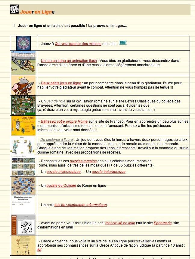 Liste De Petits Jeux A Faire En Ligne Autour Du Latin Voire En