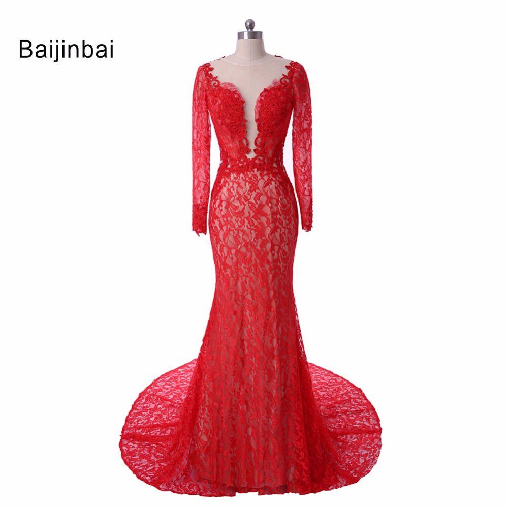 Click to buy ucuc baijinbai elegant lace mermaid red woman dresses