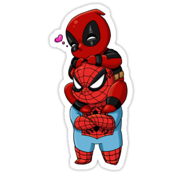 Deadpool and spiderman chibis stickers by rageofthenerd redbubble