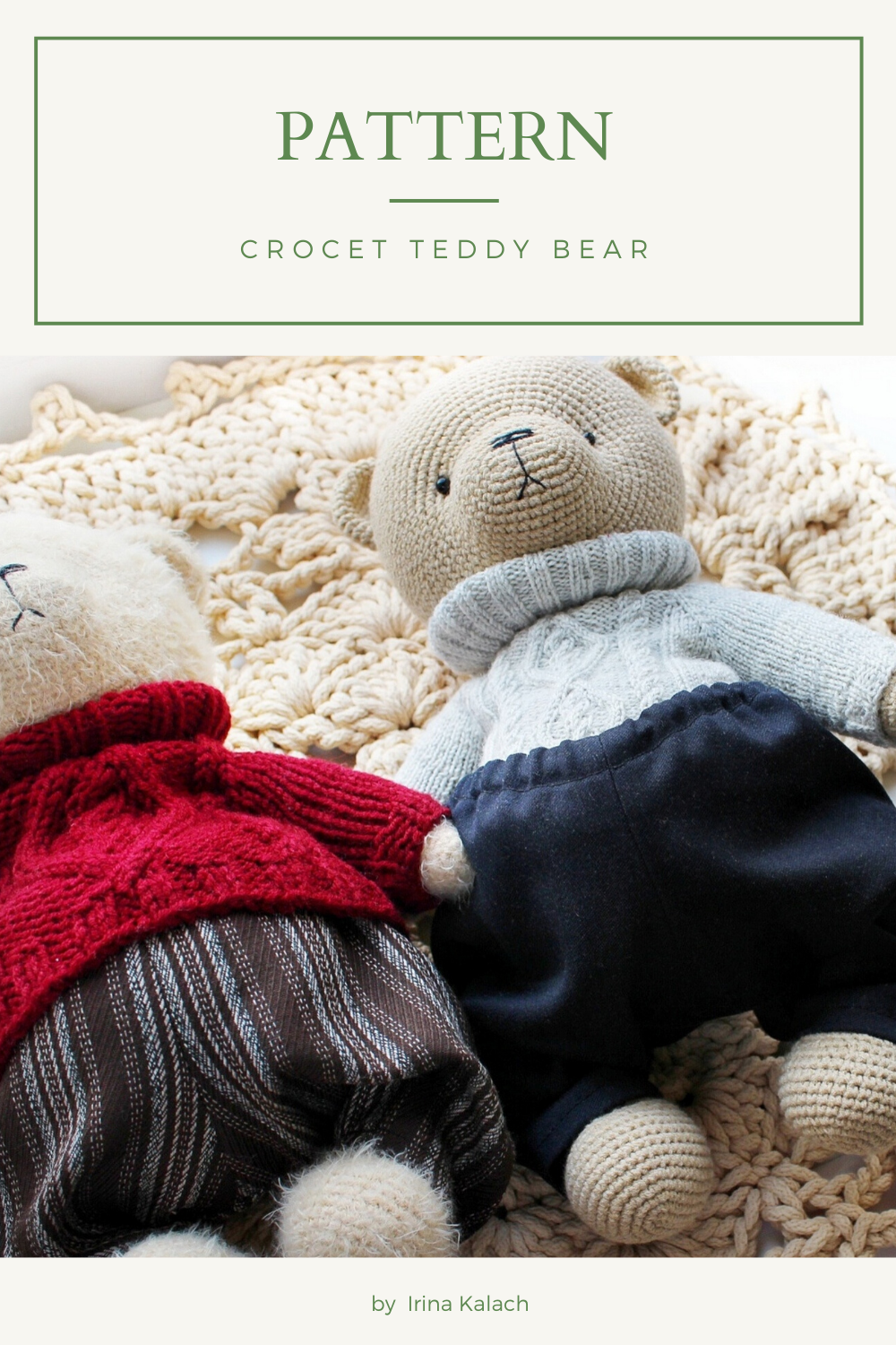 PATTERN Crochet Teddy bear. PATTERN Amigurumi Teddy bear. Tutorial crochet toy animal pdf.