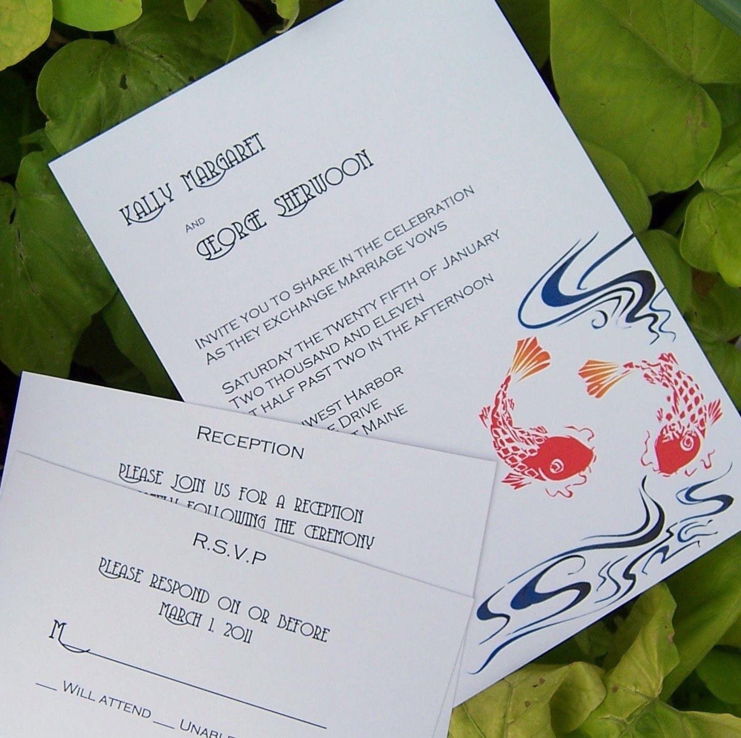 Koi invitation koi wedding invitation japanese koi invitation koi invitation koi wedding invitation japanese koi invitation ivory white orange blue purple invitation stopboris Images
