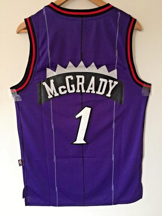 d4550b413 Men 1 Tracy McGrady Jersey Purple Toronto Raptors Throwback Swingman ...
