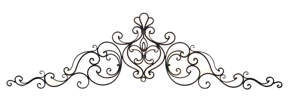 83 Tuscan Wrought Iron Wall Grille Pediment Swag Wrought Iron