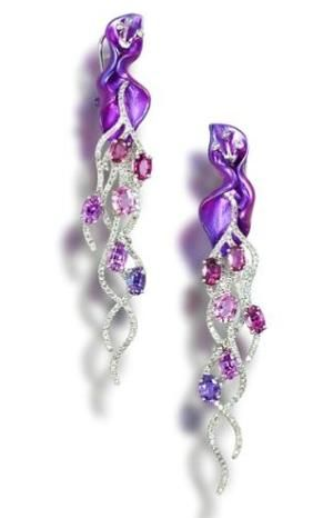 A pair of titanium, coloured sapphire and diamond earrings.  awesome by chrystal