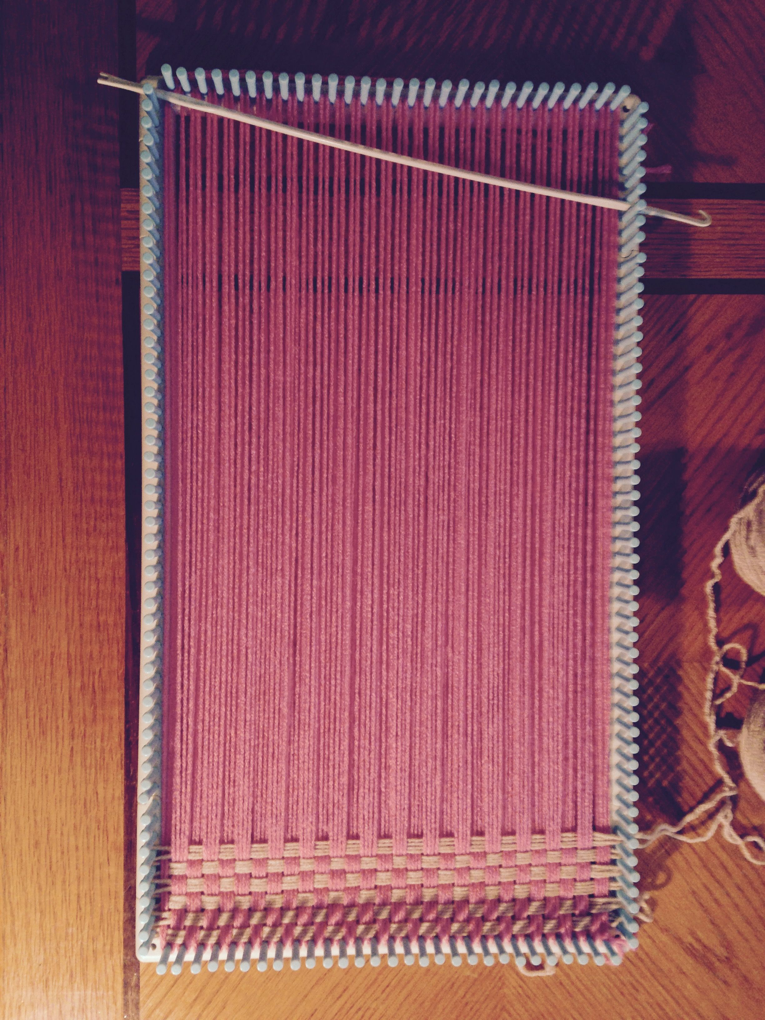 Using the Martha Stewart Loom Knit and Weave Kit, I am making a ...