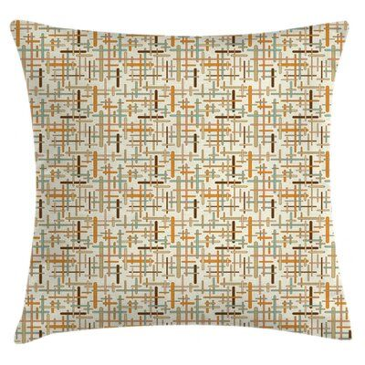"East Urban Home Ambesonne Abstract Throw Pillow Cushion Cover, Vertical Horizontal Crossed Rounded Lines Geometric Colourful Pattern, Decorative Square Accent Pillow Case, 28"" X 28"" , Orange Pale Blue Brown 
