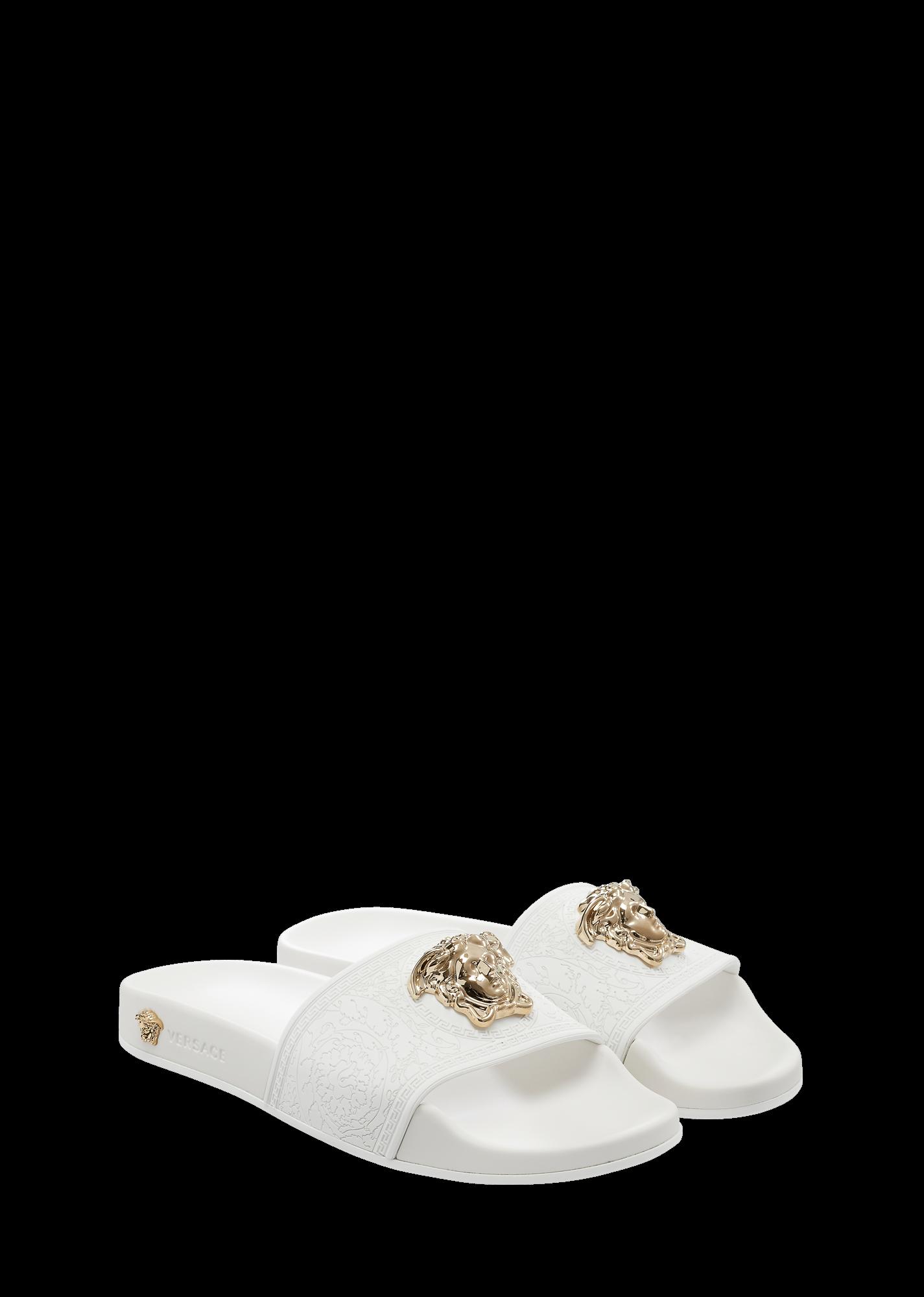 b7774ea404 Baroque Medusa Slides - White / Light Gold Sandals - £290.00 ...