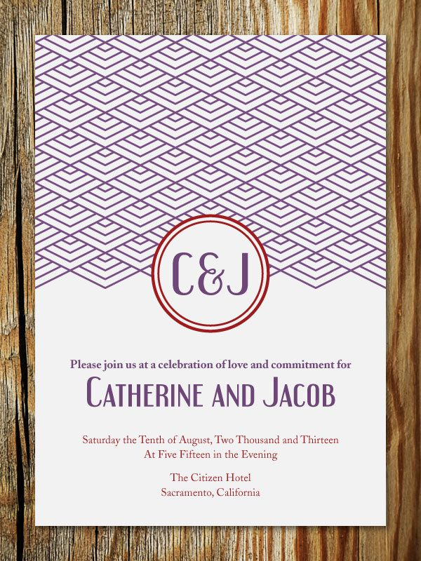 Art Deco Monogram Wedding Invitation DIY Printable Catherine