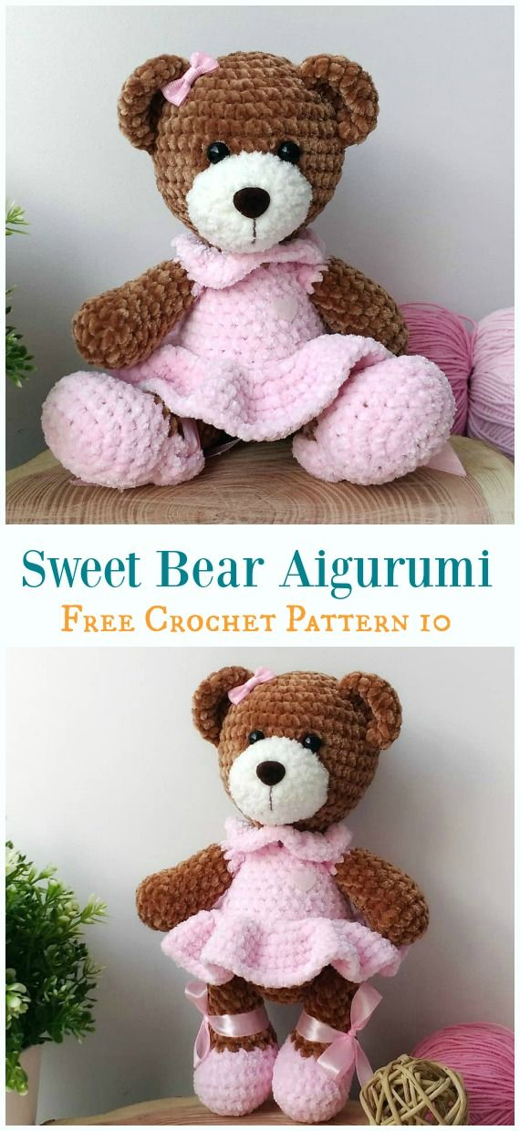 Free Amigurumi Bear Toy Softies Crochet Patterns #crochetbear