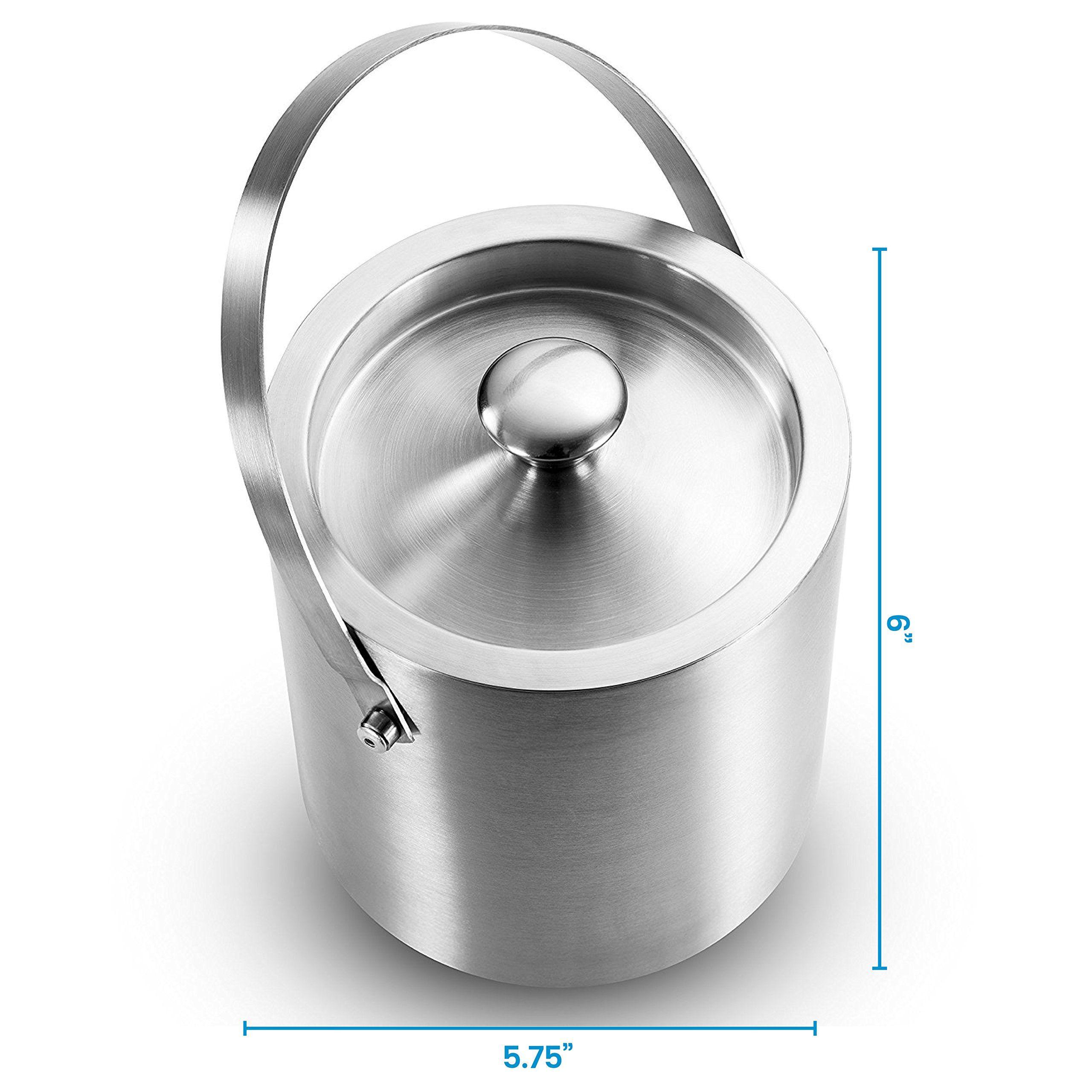 Finedine Brushed Stainless Steel Doublewalled Ice Bucket With Lid Compact Heavyduty Metal Ice Bucket With Handle Wine And Liquor Liquor Bottles Bucket With Lid