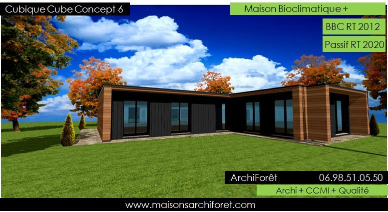 Plan et photo maison plain pied en L ou plein pied en rez de chaussee rdc par votre architecte ...