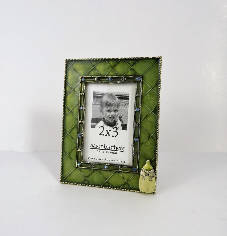 Green Enamel Metal Picture Frame Baby Bottle Theme Aaron Brothers ...