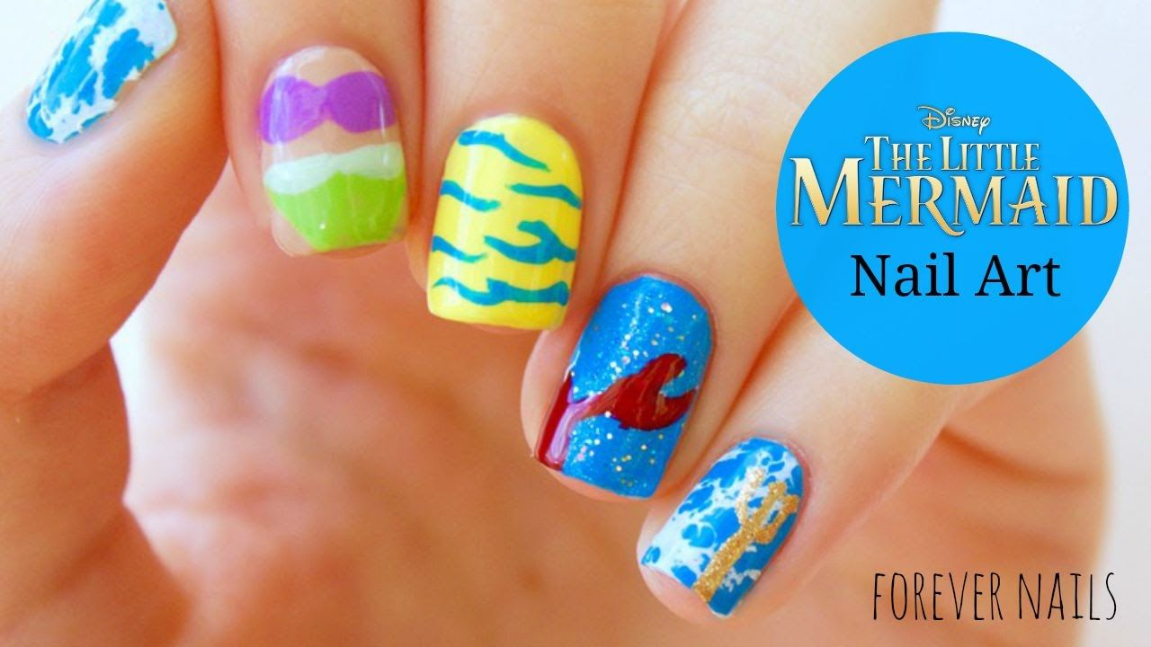 Disney's The Little Mermaid Nail Art - Disney's The Little Mermaid Nail Art Forever Nails Tutorials