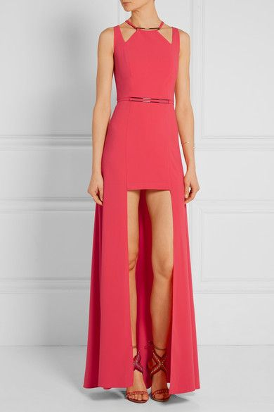 Coral stretch crepe de chine Concealed hook and zip fastening at back 90%  polyester,