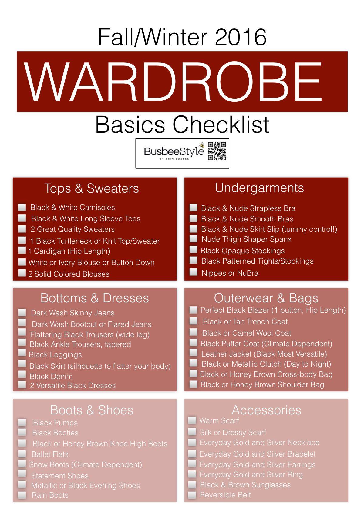 Fall & Winter Wardrobe Basics Checklist by Erin Busbee ...