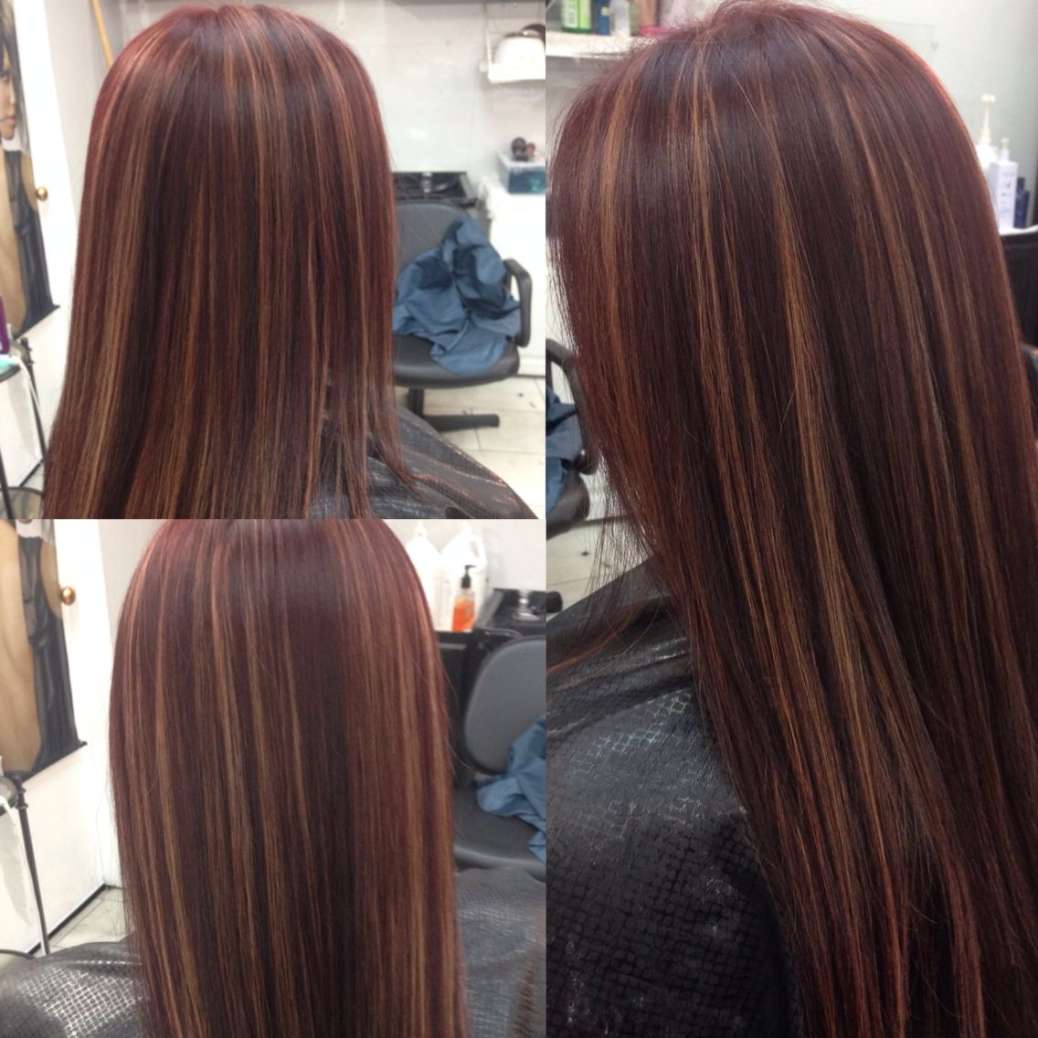 Red Mahogany With Gold Highlights Mahogany Hair Light