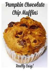 Pumpkin Muffins – TWO ingredients The easiest pumpkin chocolate chip muffins ever!  Uses a whole can of pumpkin puree.  Total of 20 minutes to make.  Kids love!
