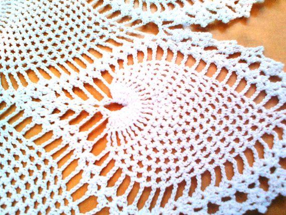 Large White Lace Crochet Table Runner Pineapple Design Pinterest