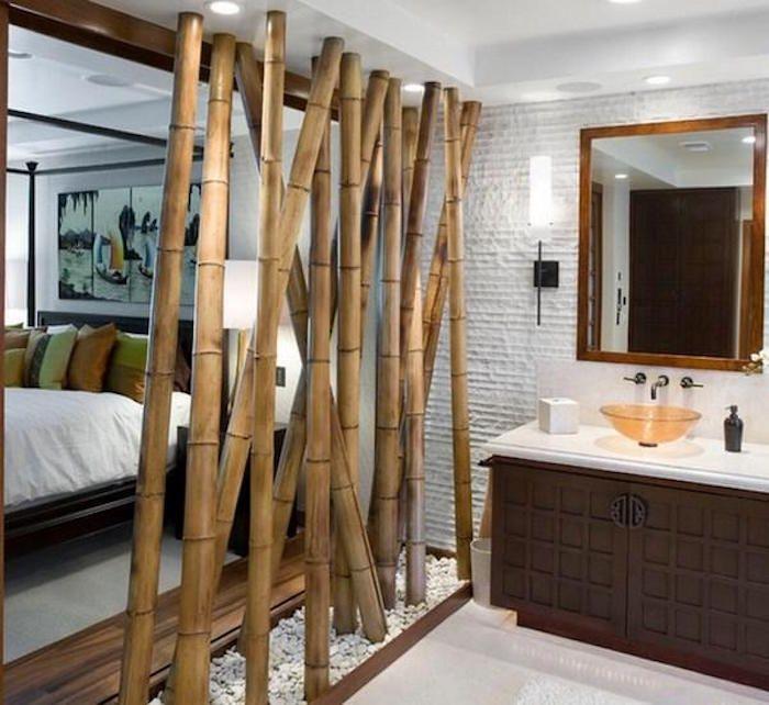 bambous comme meuble de separation diy idee deco design - Idee De Separation Salle De Bain