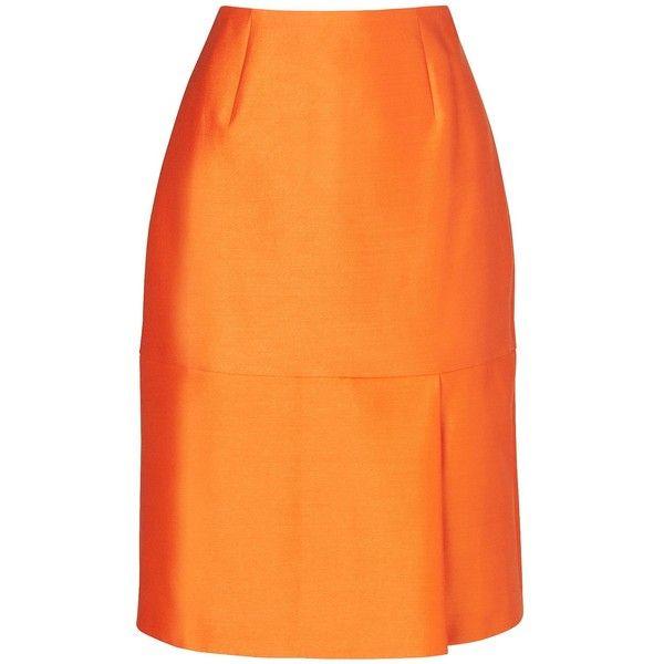 L.K. Bennett Hazel Mini Skirt ($145) ❤ liked on Polyvore featuring skirts, mini skirts, orange mini skirt, pleated skirt, mini skirt, orange skirt and short skirts