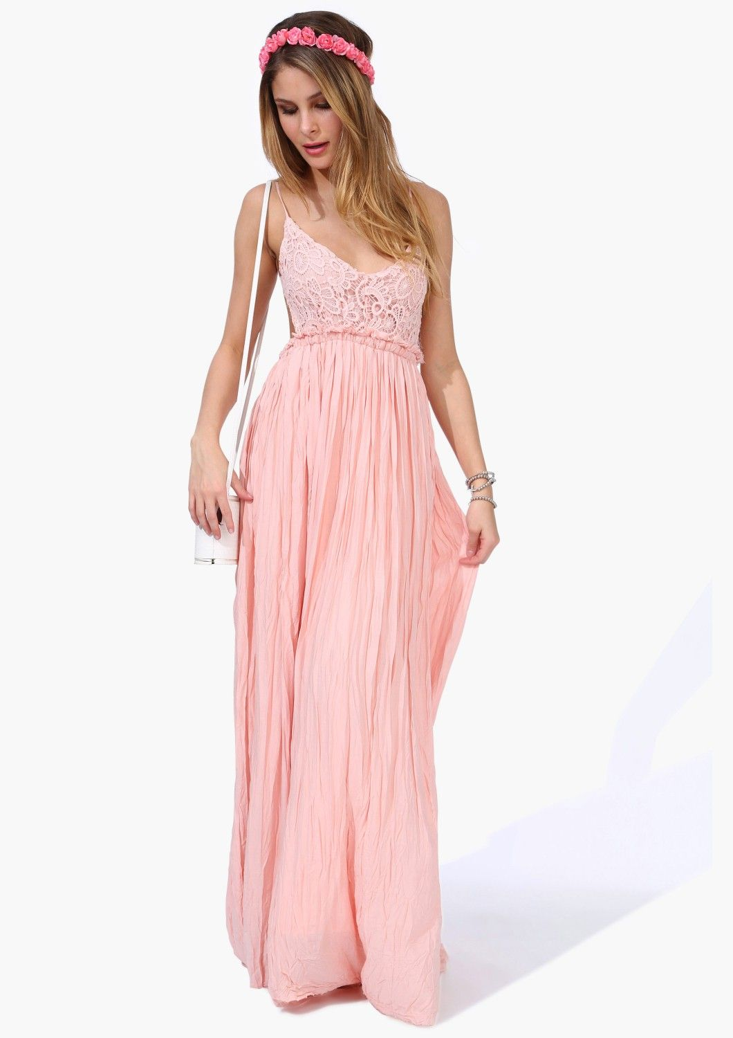 Pink Spaghetti Strap Embroidered Pleated Maxi Dress - Sheinside.com ...