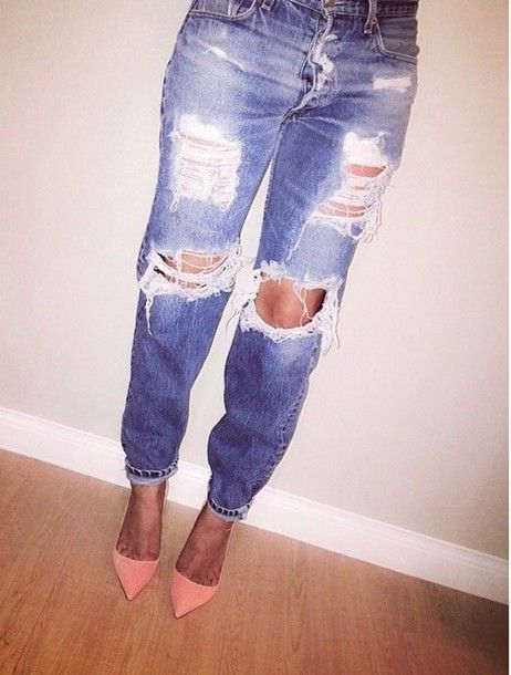 high waisted destroyed jeans - Jean Yu Beauty