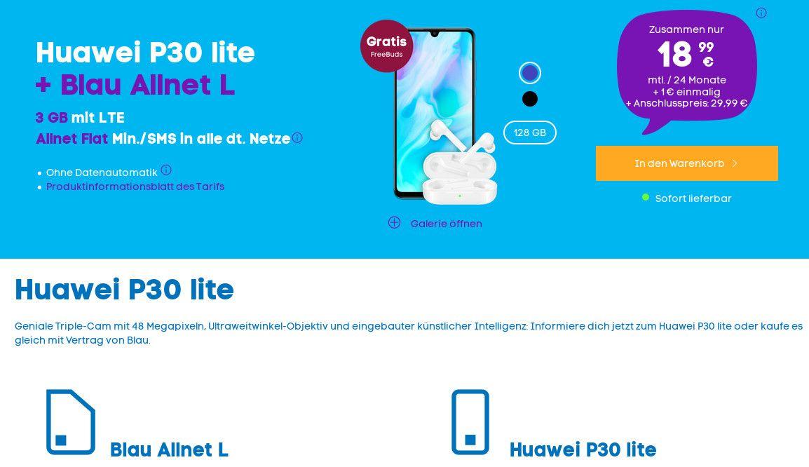Auch An Diesem Wochenende Gibt Es Beim Handydiscounter Blau Das Neue Huawei P30 Lite F R 1 Euro Mit Einem Tollen 3 Gb All In Fl Sim Karte Tipps Arbeitsspeicher